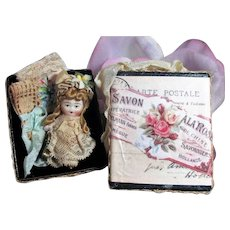 """Sweetest Chubby face 2"""" All Bisque Miniature Dollhouse doll in keepsake Box"""