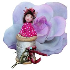 "Tiny 1 1/4"" OOAK Mini Oriental Baby Fairy on a spool of Thread"
