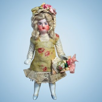 """Tiny  3 1/4"""" All Bisque Miniature Dollhouse doll"""