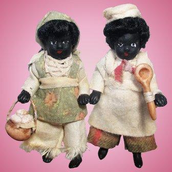 "Cute 2 1/2"" All Bisque Miniature dollhouse Black/ African Chef doll"