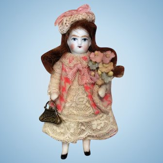 """Tiny Little 3 1/2"""" All Bisque  Miniature dollhouse doll"""