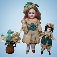 """Dreamy 4 1/2"""" (swivel head) All Bisque Mignonette doll with 2 3/4"""" Bisque Sister & Baby dolly"""