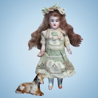 """Sweet 3 1/4"""" All Bisque Miniature Dollhouse doll & Pony"""