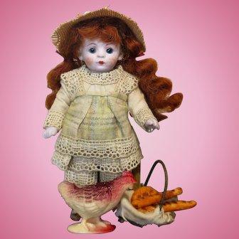 "Sweet 4 1/2"" All Bisque (Glass eyes) Mignonette Doll, Chicken & Basket of breads"