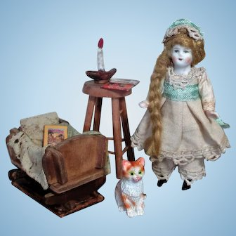 """Tiny & So cute 3 1/2"""" All Bisque Miniature Dollhouse doll & Kitten with Nursery accessories"""