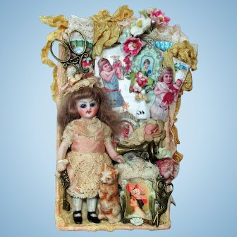 "Sweetest 3 1/2"" All Bisque (Glass eyes, swivel head) Mignonette Dollhouse doll & Little Kitty friend"