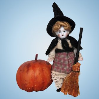 """Sweet Tiny 3"""" All Bisque Miniature Dollhouse Witch Doll (Halloween Special)"""