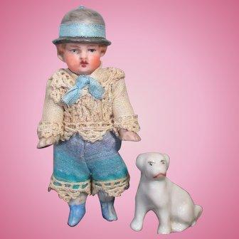"Cute Little 2 3/4"" All Bisque (swivel head) Miniature Dollhouse boy doll & sweet puppy friend"