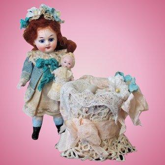 "Lovely  4 1/2"" All Bisque (glass eyes, Swivel neck) Mignonette Dollhouse Doll & Baby in Bassinet"