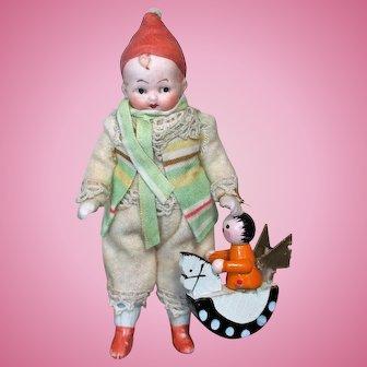 "Sweet Little 4"" All Bisque (swivel neck) Miniature Christmas Elf"