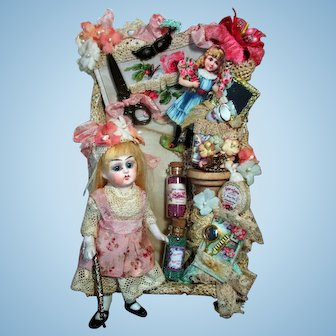 """Precious 4 1/2"""" (Glass eyes, swivel neck) All Bisque Mignonette Doll In Display Box"""