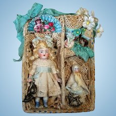 """Beautiful 3 1/2"""" All Bisque mignonette dollhouse doll & 2 1/2"""" Baby w/ Display Box"""