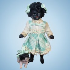 """Precious All Bisque 3 1/2"""" (glass eyes, Swivel neck) Black/ African Mignonette doll & sweet piglet friend"""