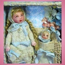 """Sweet little 3 1/4"""" Miniature OOAK artist Dollhouse doll & Baby in bunting"""