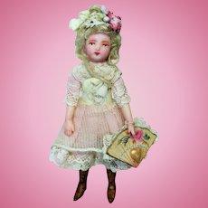 """ Miss Valentine"" Lovely 4"" Miniature OOAK artist Dollhouse little lady doll (Valentine Special)"
