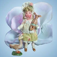 "Tiny little 2 3/4"" Miniature OOAK artist Dollhouse doll, Bunny & Goose friends"