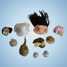 """10 Mini Mohair Doll wigs for tiny 2""""-5"""" all bisque Antique German, French/ Mignonette / Doll house doll"""