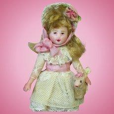 """Mini Little 3 1/2"""" OOAK artist Dollhouse doll & woolly Lamb"""