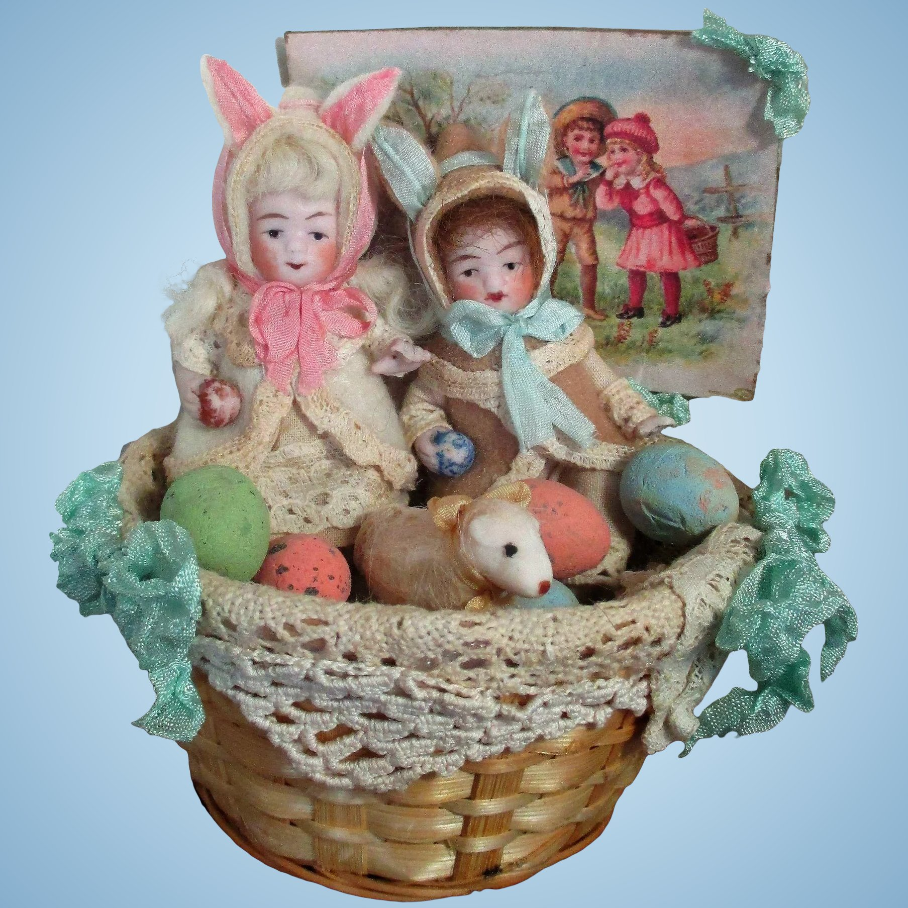 Two Tiny All Bisque German Miniature Dollhouse 3 1 2 Bunny Baby Boy · Neuhaus St Nicholas Gift Basket 02 & Baby Gift Baskets Germany - Gift Ideas