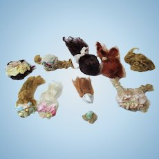 """10 Mini Mohair Doll wigs for tiny 1 1/2""""-4 1/2"""" all bisque Antique German, French/ Mignonette / Doll house doll"""