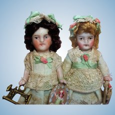 "Two So cute 3 1/4""-3 1/2"" All Bisque German Miniature Doll house  sister dolls"