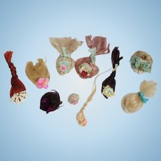 """10 Mini Mohair Doll wigs for tiny 2""""-4 1/2"""" all bisque Antique German, French/ Mignonette / Doll house doll"""