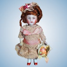 """Lovely  3 1/2"""" All Bisque Miniature German Dollhouse little lady doll"""