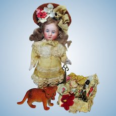 "Lovely  4 1/4"" All Bisque (Swivel neck) Mignonette Dollhouse Doll & Kitten"
