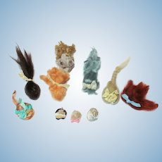 """10 Mini Mohair Doll wigs for tiny 2""""-4"""" all bisque Antique German, French/ Mignonette / Doll house doll"""