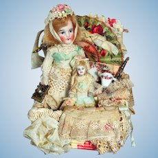 "Sweet 4"" (Swivel neck) All Bisque German Mignonette Doll & dolly in Basket of accessories"