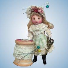 "Tiny Pixie -like 3"" Miniature OOAK artist Dollhouse doll"