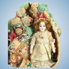 "Tiny  3 1/2"" All Bisque German Mignonette Dollhouse doll in Lace Display box"