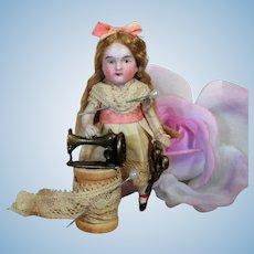 "Sweet Little 3 1/4"" All Bisque German Mignonette Dollhouse doll"