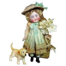 "Gorgeous 4"" All Bisque ( Swivel neck) Mignonette Dollhouse doll & Puppy"