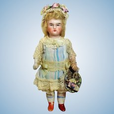 """Sweet 4 1/2"""" all Bisque German Mignonette Dollhouse doll"""
