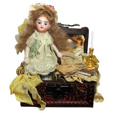 """Gorgeous All Bisque 4"""" (Glass eyes, Swivel head) French Mignonette doll in trunk"""