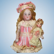 """Sweet  4"""" All Bisque German Miniature Dollhouse little lady doll & 2"""" dolly"""