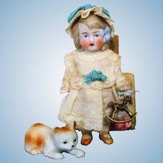 "Sweet  3 1/2"" All Bisque Miniature German Dollhouse Doll & Kitten"