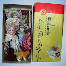 "Sweet 5 1/2"" All Bisque (glass eyes, Swivel neck) Mignonette Dollhouse Doll & accessories in Chocolate Box"