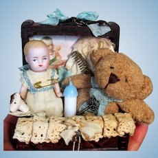 """Tiny 2 3/4"""" All Bisque Miniature Dollhouse Baby Boy doll & Teddy in Trunk"""