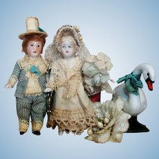 """Lovely 3"""" All Bisque Antique German Miniature Dollhouse Bride & Groom Dolls (Fairy tale Wedding)"""