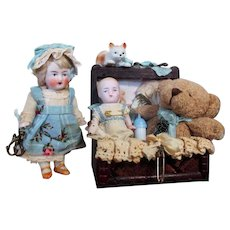 """Two Cute little All Bisque German 2 3/4"""" Baby Brother & 3 1/2"""" Sister Dollhouse dolls in Trunk"""