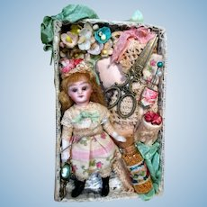 """Tiny 3 1/4"""" Bisque ( Glass eyes, Swivel head) Miniature Dollhouse Doll in Display box"""