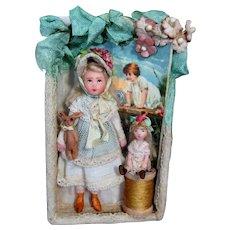 "Sweet 3 3/4"" Miniature OOAK Art Dollhouse doll, Bunny & 1 1/4"" Dolly in display box"