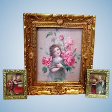 Three Miniature Dollhouse Framed  Flower Girl & Children Pictures/ Frames