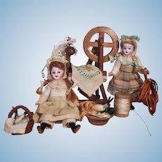 "Two So beautiful 3 1/2"" Miniature Bisque Head (glass eyes, swivel head) OOAK Art Dollhouse dolls with Spinning wheel &...."
