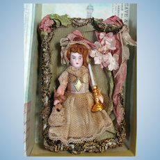 """"""" Pretty in Gold""""  Tiny 3 1/2"""" All Bisque German Pocket size Dollhouse doll in display box"""