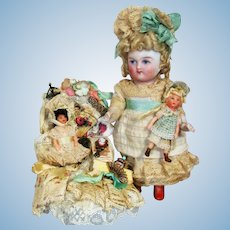 "Lovely 4 1/2"" All Bisque German Mignonette little lady doll & OOAK Baby dollies"