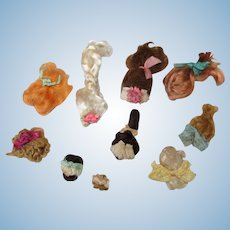 "Group of 10 Mini Mohair Doll wigs for tiny 1 1/2""-4"" all bisque Antique German, French/ Mignonette / Doll house doll"
