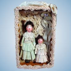 "Two So tiny 2 1/4"" & 1 1/4"" Miniature OOAK Dollhouse dolls in keepsake box"